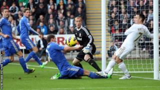 Leon Britton clears off the Swansea goal-line