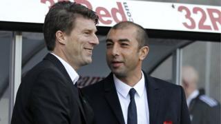 Michael Laudrup and Chelsea boss Roberto Di Matteo
