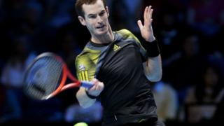 Andy Murray in action at the ATP Tour Finals