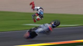 Leader Jorge Lorenzo crashes out in Valencia