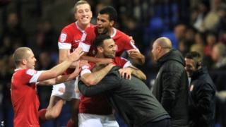 Barnsley celebrate Craig Davies' equaliser
