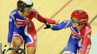 Jess Varnish (r) is congratulated by team-mate Becky James
