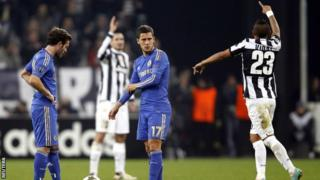 Juventus celebrate their second goal.
