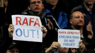 Chelsea fans voice their disapproval at the appointment of Rafael Benitez as the club's new manager