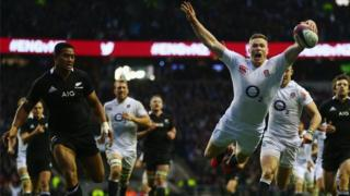 Chris Ashton scores England's second try