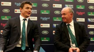 Brian O'Driscoll and Declan Kidney at the 2015 World Cup draw
