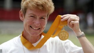 Margaret Letham with her Commonwealth Games gold medal