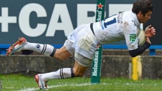 Montpellier wing Yoan Audrin goes over for the first try in his side's Heineken Cup clash against Cardiff Blues at the Arms Park