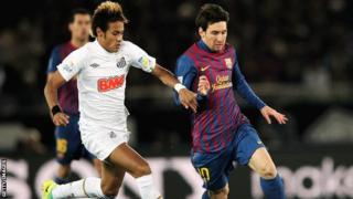 Neymar of Santos and Messi of Barcelona in 2012 World Club Cup final
