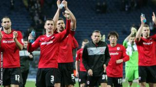 Cardiff City players celebrating their 4-1 win at Blackburn Rovers