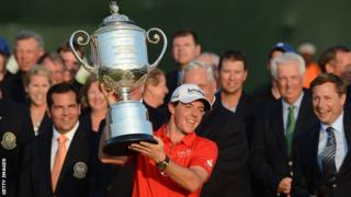 Rory McIlroy holds the USPGA trophy after winning the major in August