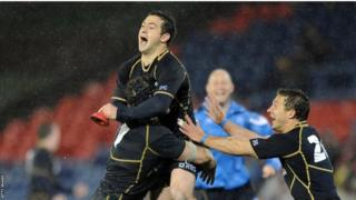 Greig Laidlaw rejoices after kicking a penalty in added time to defeat Australia 9-6 on Scotland's summer tour