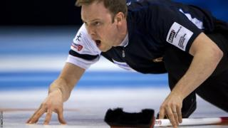Scotland's skip Tom Brewster reacts during his final match against Canada at the World Men's Curling Championship on April 8, 2012 in Basel