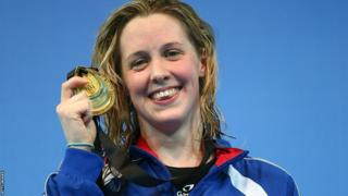 Hannah Miley shows off her gold medal at the World Short Course Swimming Championships in Istanbul