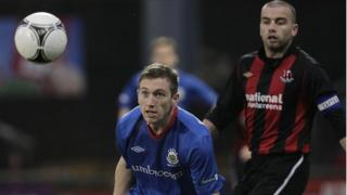 Match action from Crusaders against Linfield at Seaview