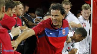 Serbia and England players and coaches during the brawl in Krusevac
