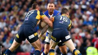 Warrington's Paul Wood against Leeds Rhinos in October's Grand Final