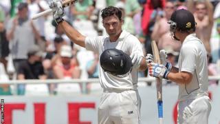 Dean Brownlie celebrates his maiden Test century