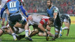 Nick Williams barges over for Ulster's first-half try at Ravenhill