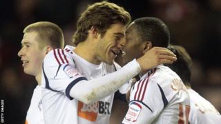 Marcos Alonso congratulates Marvin Sordell