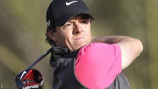 Rory McIlroy in first round action in Abu Dhabi