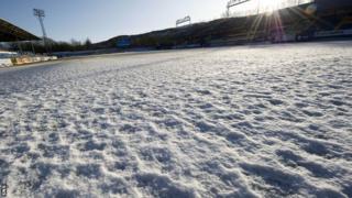 Frozen football pitch