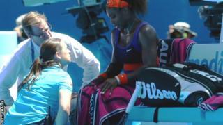 Serena Williams calls for the trainer