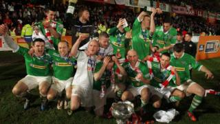 Cliftonville celebrate winning the Irish League Cup
