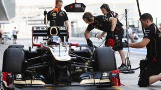 Edoardo Mortara testing for Lotus F1 Team