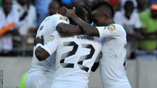 Ghana celebrate their goal against Cape Verde