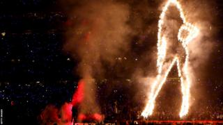 Half-time show at the Super Bowl