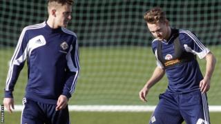 Adam McGurk (right) and Dean Shiels at Northern Ireland training on Monday