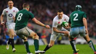 England wing Chris Ashton runs at the Ireland defence