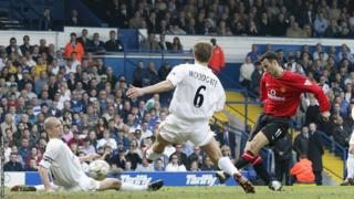 Ryan Giggs scores for Manchester United against Leeds United during the 2001-02 season