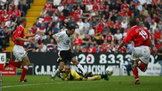 Ryan Giggs scores for Manchester United against Charlton Athletic during the 2002-03 season