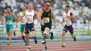 Oscar Pistorius of South Africa wins the 200m in world record time during 2004 Paralympics.