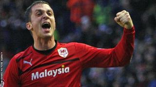 Andrew Taylor celebrates a Cardiff City goal