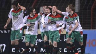 Glentoran celebrated victory over St Pat's in the Setanta Cup