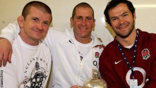 England coaches Graham Rowntree, Stuart Lancaster and Andy Farrell