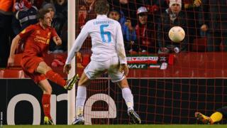 Joe Allen scores as Liverpool beat Zenit St Petersburg 3-1 at Anfield in the Europa League