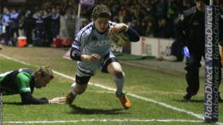 Wing Harry Robinson goes over for Cardiff Blues against Connacht in the Pro12 at the Arms Park