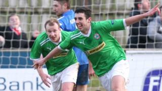 Cliftonville's Joe Gormley celebrates scoring the winner against Ballinamallard
