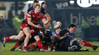 Aled Davies feeds the ball from the base of a ruck