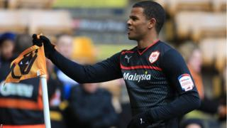 Striker Fraizer Campbell celebrates his first goal for Cardiff City against Wolves in the Sunday afternoon kick-off at Molineux