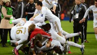 Swansea celebrate League Cup victory