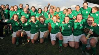 Ireland's women celebrate their first Triple Crown after beating Scotland at Lasswade