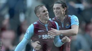 West Ham midfielder Jack Collison (left) and striker Andy Carroll