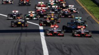 Cars start the Australian Grand Prix in 2012