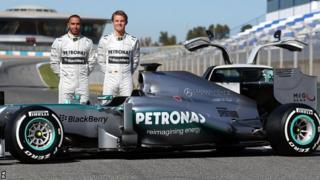 Mercedes drivers Lewis Hamilton (left) and Nico Rosberg