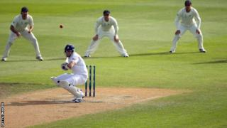 Steven Finn avoids a bouncer on his way to a maiden Test fifty